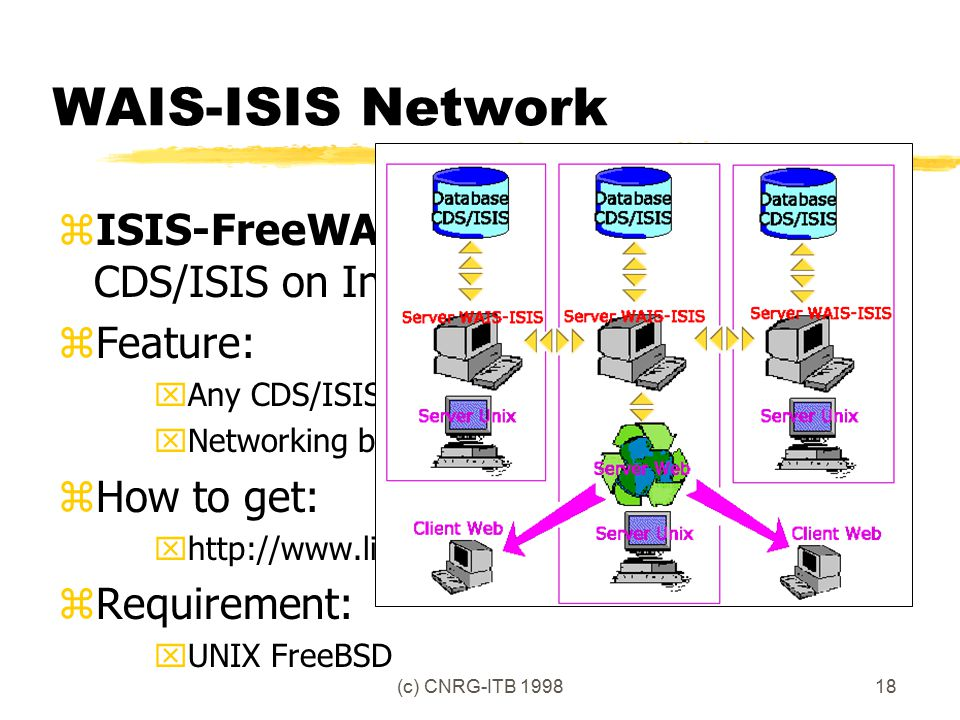 (c) CNRG-ITB 199818 WAIS-ISIS Network zISIS-FreeWAIS: Search Engine for CDS/ISIS on Internet zFeature: xAny CDS/ISIS database xNetworking between WAIS server zHow to get: xhttp://www.lib.itb.ac.id/isis/resources.html zRequirement: xUNIX FreeBSD