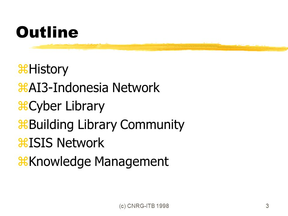 (c) CNRG-ITB 19983 Outline zHistory zAI3-Indonesia Network zCyber Library zBuilding Library Community zISIS Network zKnowledge Management