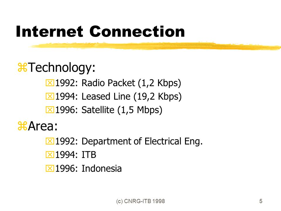 (c) CNRG-ITB 19985 Internet Connection zTechnology: x1992: Radio Packet (1,2 Kbps) x1994: Leased Line (19,2 Kbps) x1996: Satellite (1,5 Mbps) zArea: x1992: Department of Electrical Eng.