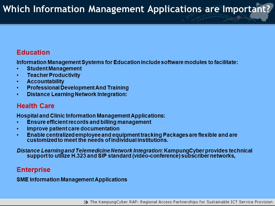 Which Information Management Applications are Important.