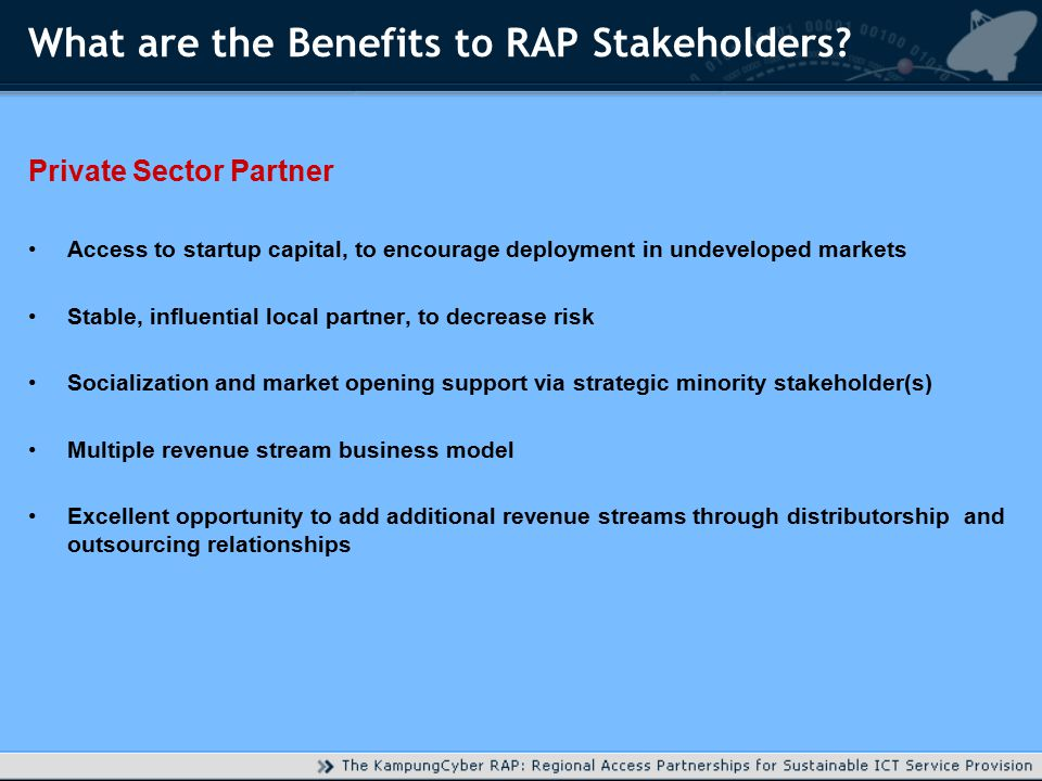 What are the Benefits to RAP Stakeholders.