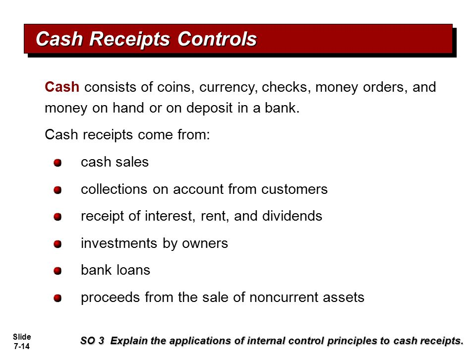 Slide 7-14 Cash consists of coins, currency, checks, money orders, and money on hand or on deposit in a bank. Cash receipts come from: cash sales coll