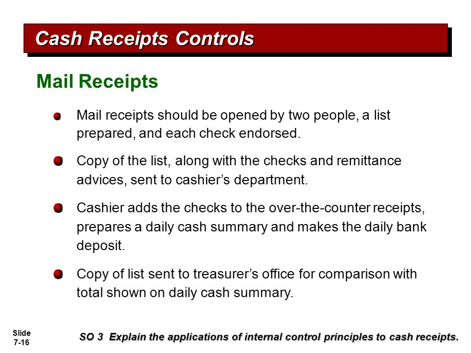 Slide 7-16 Mail receipts should be opened by two people, a list prepared, and each check endorsed. Copy of the list, along with the checks and remitta