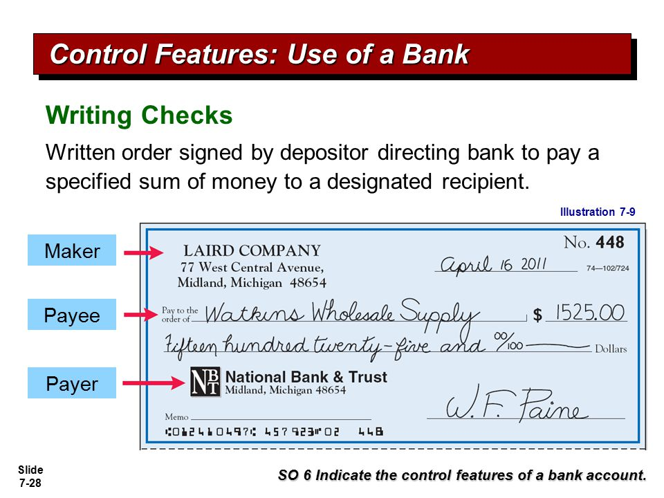 Slide 7-28 Writing Checks Written order signed by depositor directing bank to pay a specified sum of money to a designated recipient. SO 6 Indicate th