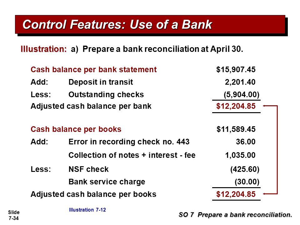 Slide 7-34 Illustration: Illustration: a) Prepare a bank reconciliation at April 30. SO 7 Prepare a bank reconciliation. Cash balance per bank stateme