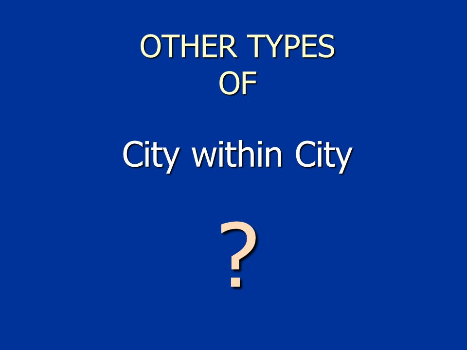 OTHER TYPES OF City within City
