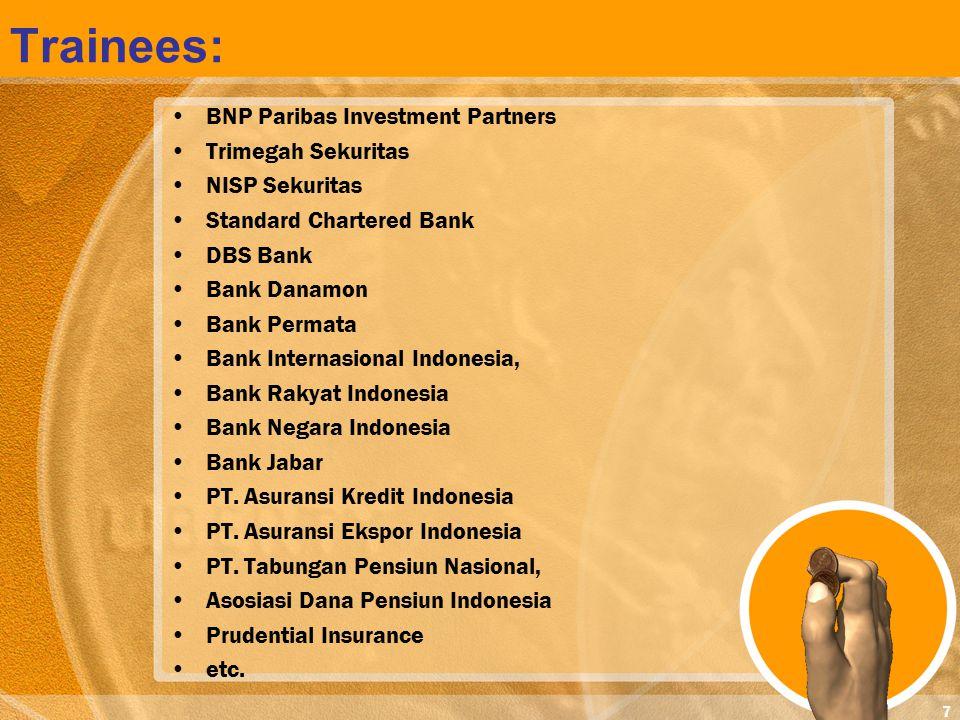 7 BNP Paribas Investment Partners Trimegah Sekuritas NISP Sekuritas Standard Chartered Bank DBS Bank Bank Danamon Bank Permata Bank Internasional Indo