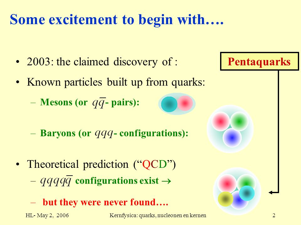 HL- May 2, 2006Kernfysica: quarks, nucleonen en kernen2 Some excitement to begin with….
