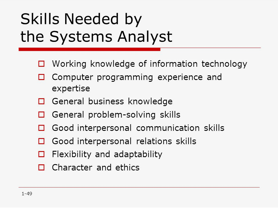 1-49 Skills Needed by the Systems Analyst  Working knowledge of information technology  Computer programming experience and expertise  General busi