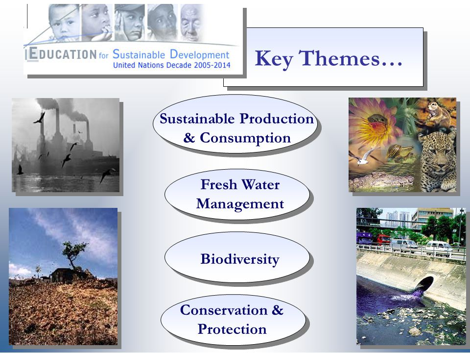 Conservation & Protection Fresh Water Management Biodiversity Sustainable Production & Consumption Key Themes…