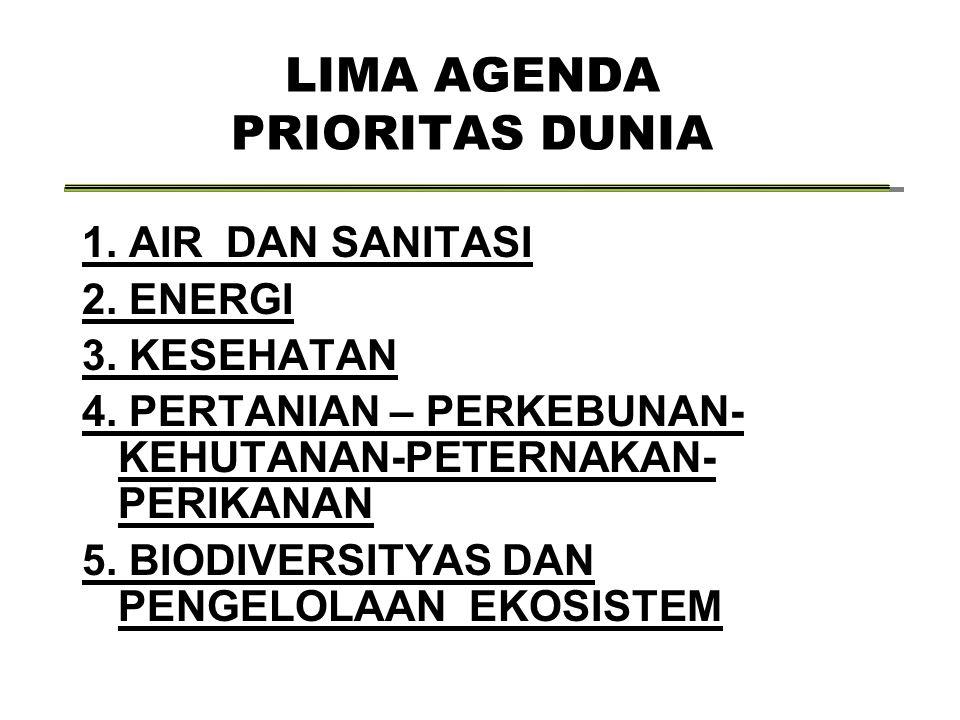 LIMA AGENDA PRIORITAS DUNIA 1. AIR DAN SANITASI 2.