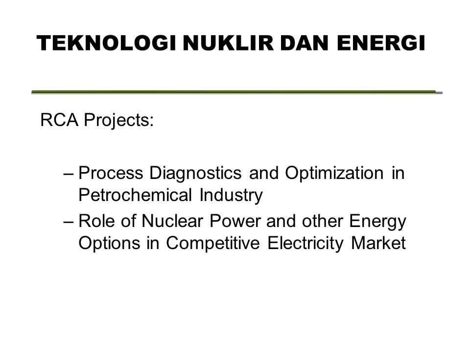 RCA Projects: –Process Diagnostics and Optimization in Petrochemical Industry –Role of Nuclear Power and other Energy Options in Competitive Electricity Market TEKNOLOGI NUKLIR DAN ENERGI