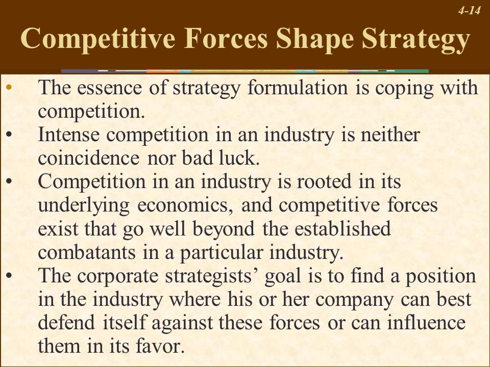 4-14 Competitive Forces Shape Strategy The essence of strategy formulation is coping with competition. Intense competition in an industry is neither c