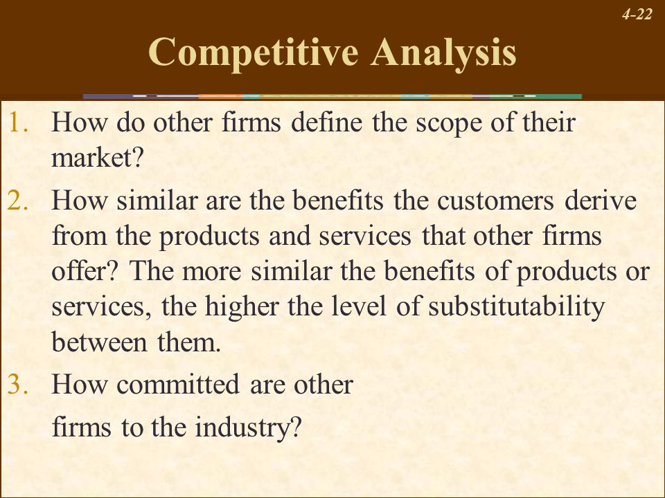 4-22 Competitive Analysis 1.How do other firms define the scope of their market? 2.How similar are the benefits the customers derive from the products