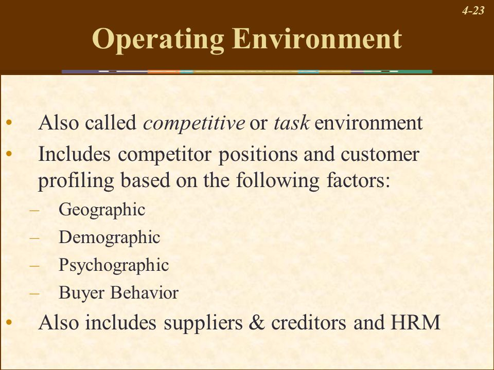 4-23 Operating Environment Also called competitive or task environment Includes competitor positions and customer profiling based on the following fac