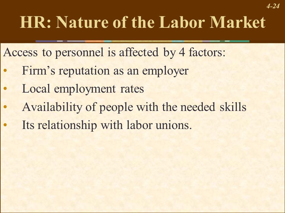 4-24 HR: Nature of the Labor Market Access to personnel is affected by 4 factors: Firm's reputation as an employer Local employment rates Availability