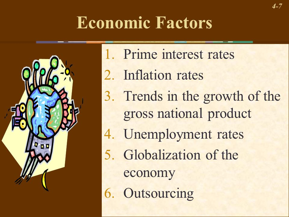 4-7 Economic Factors 1.Prime interest rates 2.Inflation rates 3.Trends in the growth of the gross national product 4.Unemployment rates 5.Globalizatio
