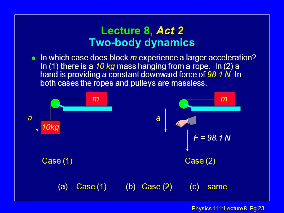 Physics 111: Lecture 8, Pg 22 Special Case 3: If  1 = 0 and  2 = 90, m1m1 m2m2 Lab configuration m1m1 m2m2 11 22  a mm mm g   1122 12 sin   Air-track
