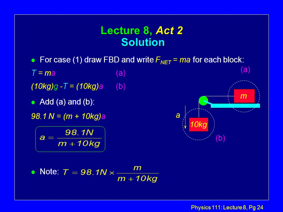 Physics 111: Lecture 8, Pg 23 Lecture 8, Act 2 Two-body dynamics l In which case does block m experience a larger acceleration.