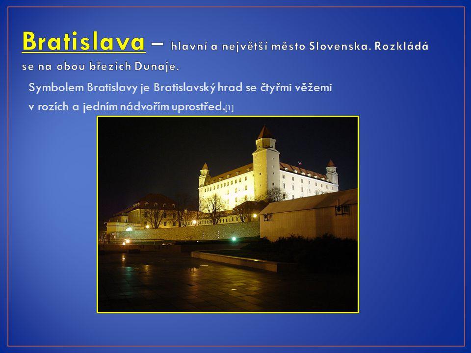 Symbolem Bratislavy je Bratislavský hrad se čtyřmi věžemi v rozích a jedním nádvořím uprostřed. [1]