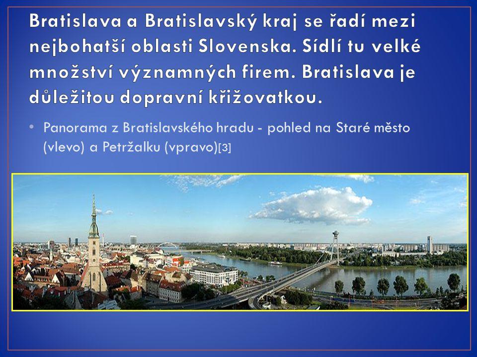 Panorama z Bratislavského hradu - pohled na Staré město (vlevo) a Petržalku (vpravo) [3]