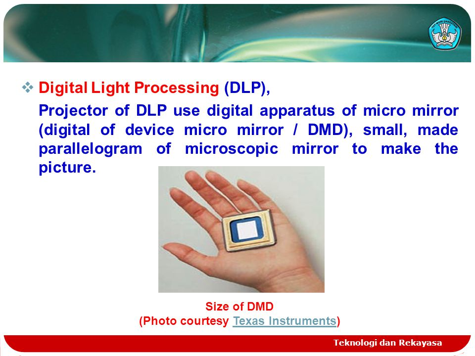 Teknologi dan Rekayasa  Digital Light Processing (DLP), Projector of DLP use digital apparatus of micro mirror (digital of device micro mirror / DMD), small, made parallelogram of microscopic mirror to make the picture.