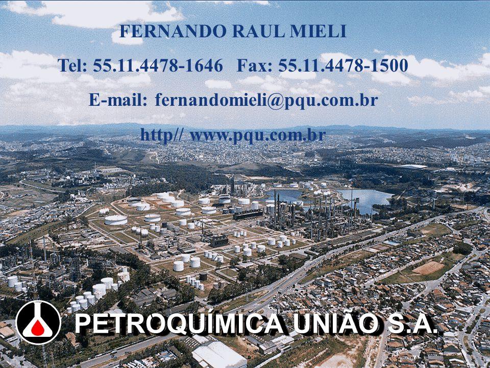 MAY/2002 PETROQUÍMICA UNIÃO S.A. FERNANDO RAUL MIELI Tel: 55.11.4478-1646 Fax: 55.11.4478-1500 E-mail: fernandomieli@pqu.com.br http// www.pqu.com.br