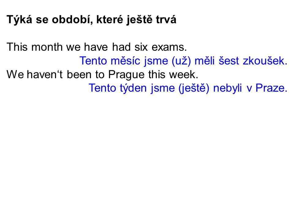 Týká se období, které ještě trvá This month we have had six exams.