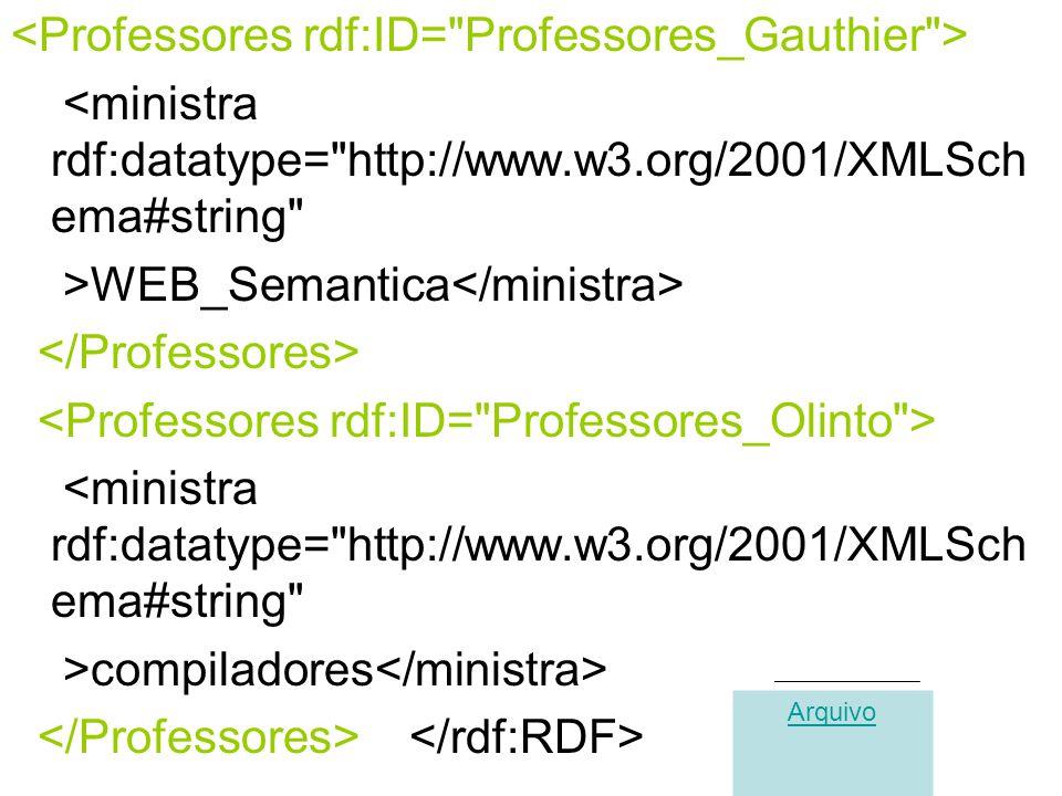 <ministra rdf:datatype= http://www.w3.org/2001/XMLSch ema#string >WEB_Semantica <ministra rdf:datatype= http://www.w3.org/2001/XMLSch ema#string >compiladores Arquivo