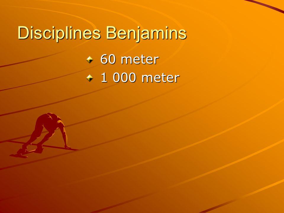 Disciplines Benjamins 60 meter 60 meter 1 000 meter 1 000 meter