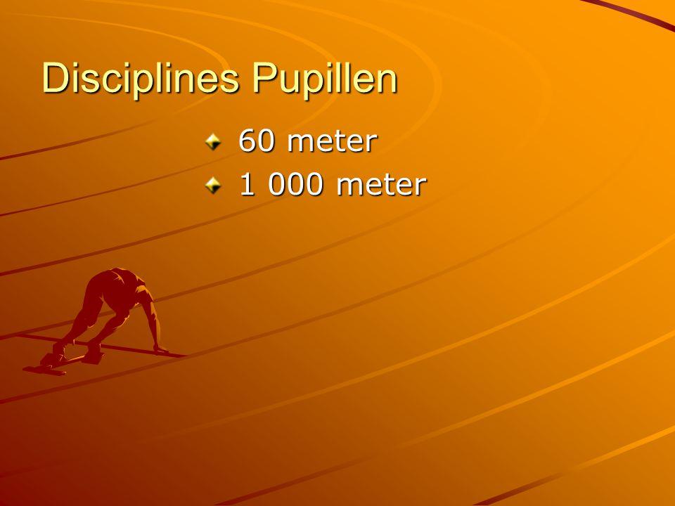 Disciplines Pupillen 60 meter 60 meter 1 000 meter 1 000 meter
