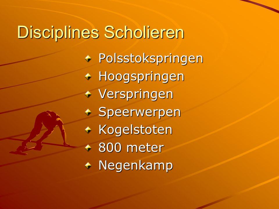 Disciplines Scholieren Polsstokspringen Polsstokspringen Hoogspringen Hoogspringen Verspringen Verspringen Speerwerpen Speerwerpen Kogelstoten Kogelstoten 800 meter 800 meter Negenkamp Negenkamp