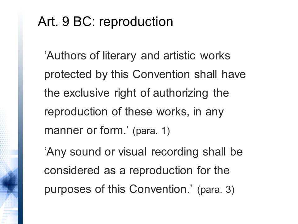 Arts.11(1)(ii), 11bis(1)(i) and (ii), 11ter(1)(ii), 14(1)(ii), 14bis(1) BC Art.