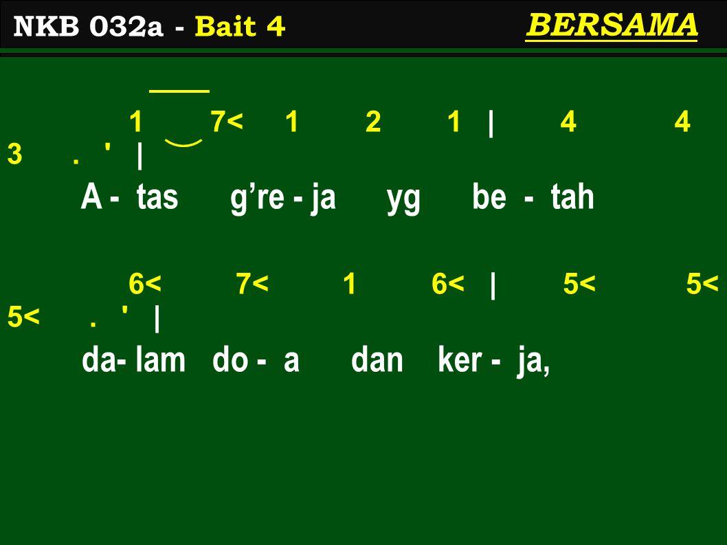 1 7< 1 2 1 | 4 4 3. | A - tas g're - ja yg be - tah 6< 7< 1 6< | 5< 5< 5<.