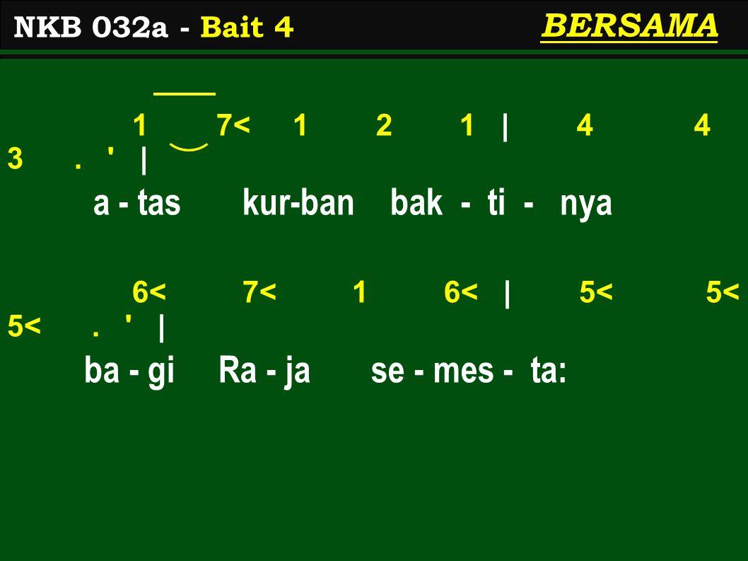 1 7< 1 2 1 | 4 4 3. | a - tas kur-ban bak - ti - nya 6< 7< 1 6< | 5< 5< 5<.