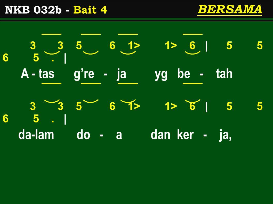 3 3 5 6 1> 1> 6 | 5 5 6 5. | A - tas g're - ja yg be - tah 3 3 5 6 1> 1> 6 | 5 5 6 5.