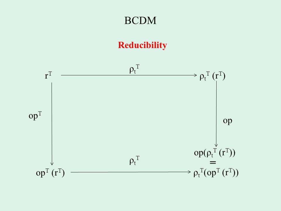 BCDM Reducibility rTrT ρ t T (r T ) ρtTρtT op T (r T ) op T op op(ρ t T (r T )) ρtTρtT ρ t T (op T (r T )) =