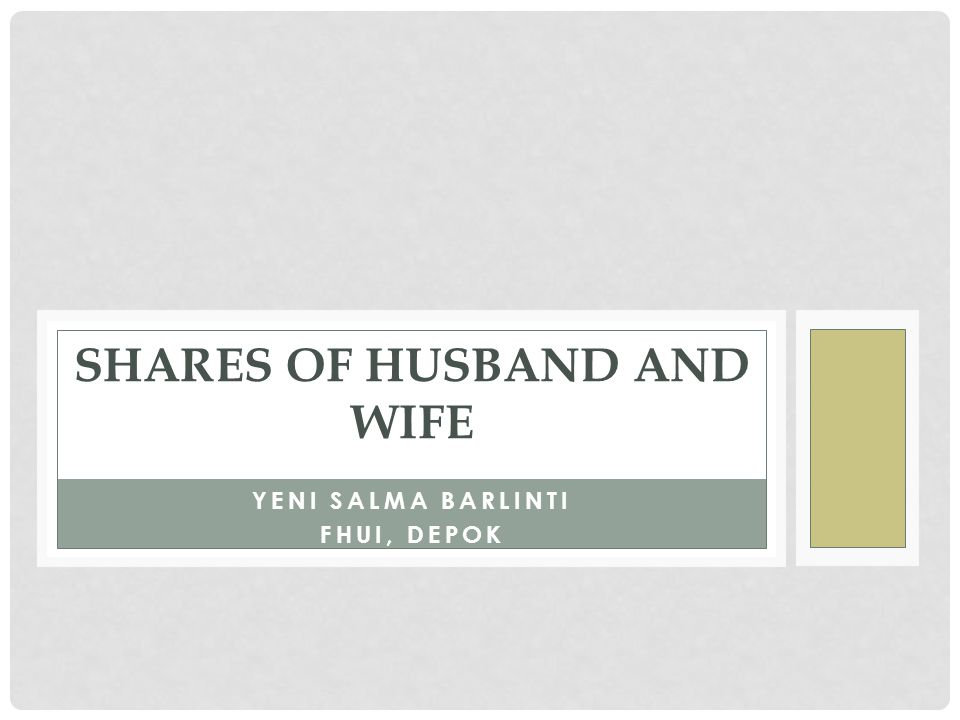 YENI SALMA BARLINTI FHUI, DEPOK SHARES OF HUSBAND AND WIFE