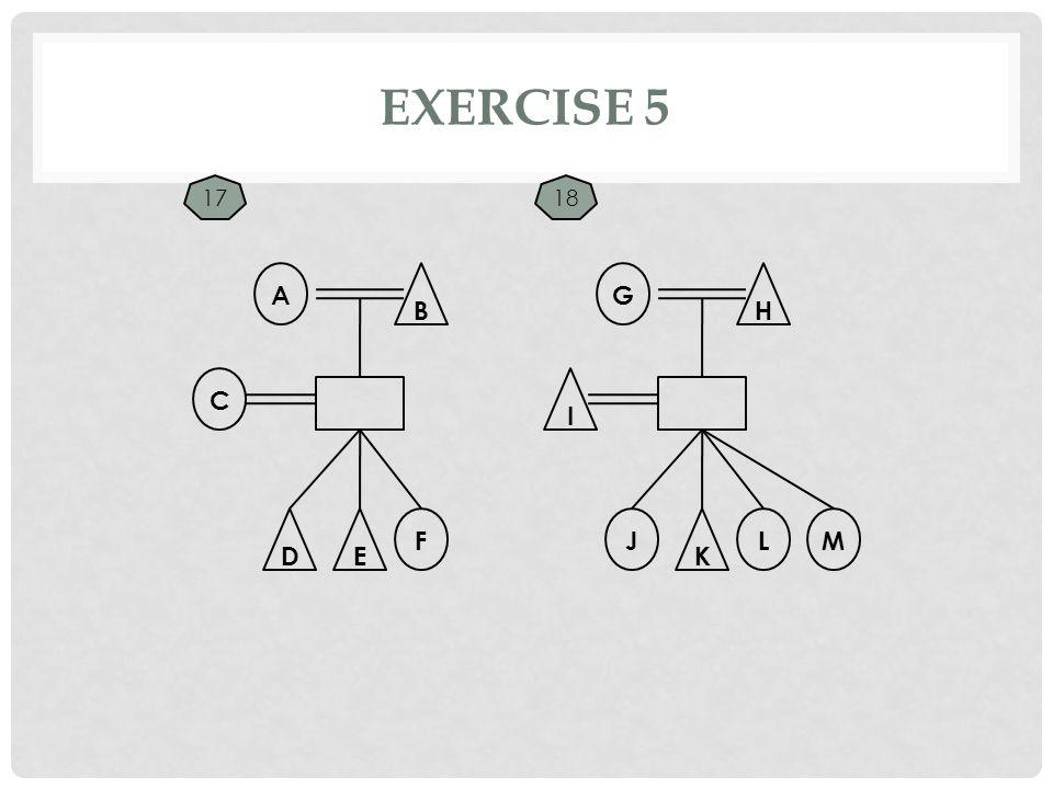EXERCISE 5 C A B F G H E I D L K JM 1718