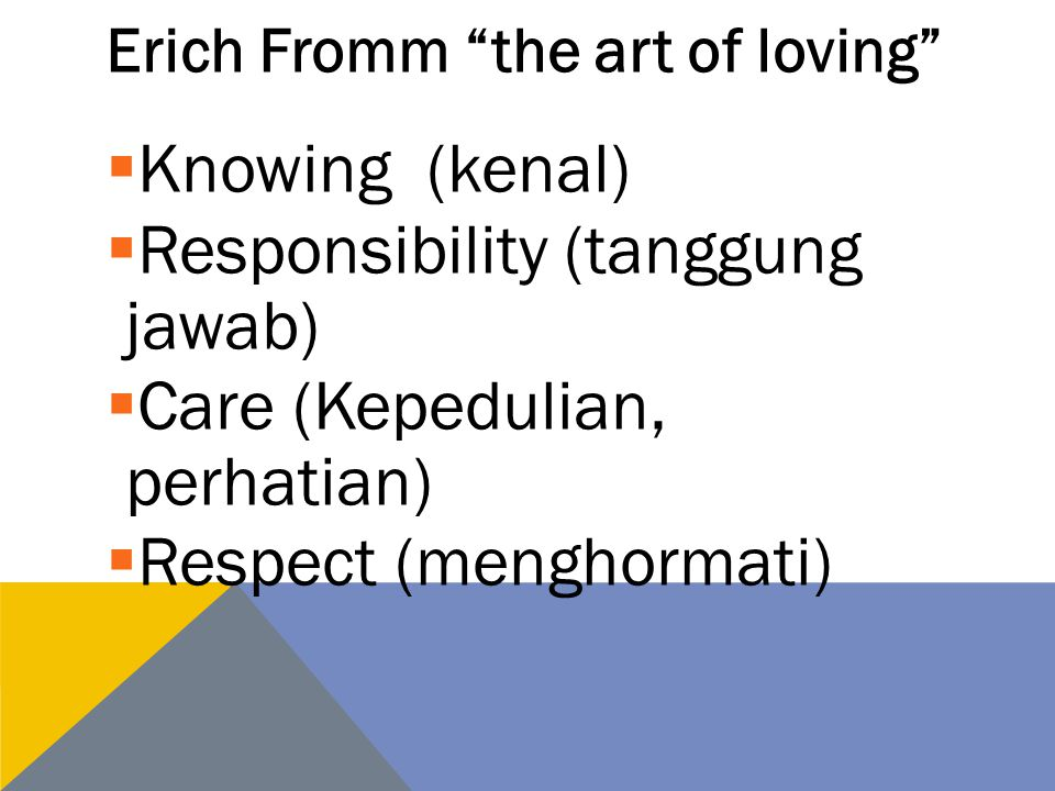 Erich Fromm the art of loving  Knowing (kenal)  Responsibility (tanggung jawab)  Care (Kepedulian, perhatian)  Respect (menghormati)