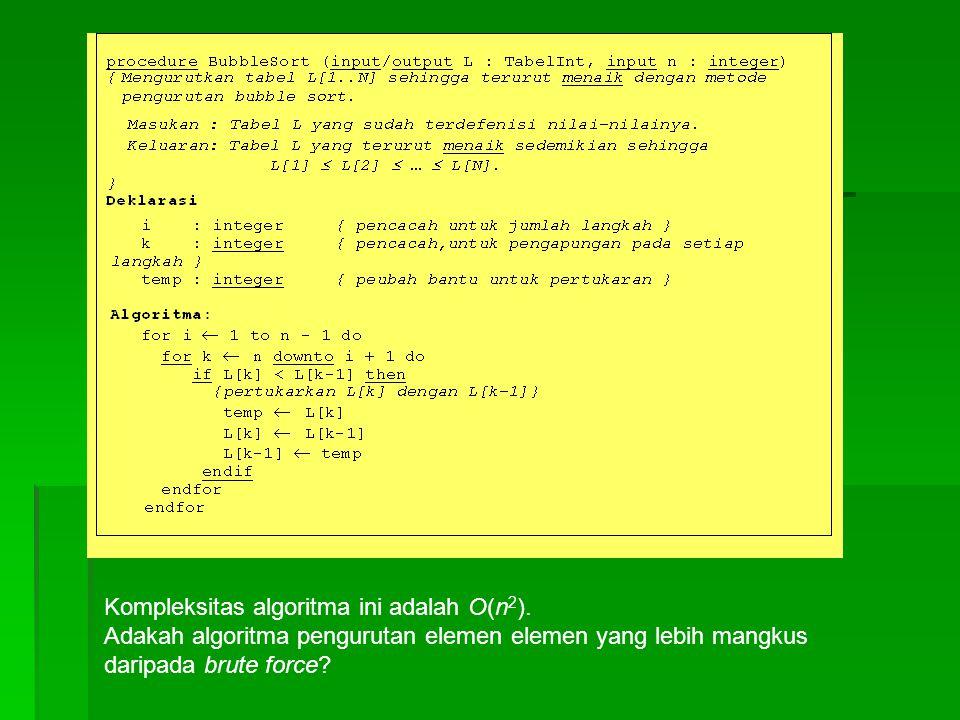 Kompleksitas algoritma ini adalah O(n 2 ). Adakah algoritma pengurutan elemen elemen yang lebih mangkus daripada brute force?
