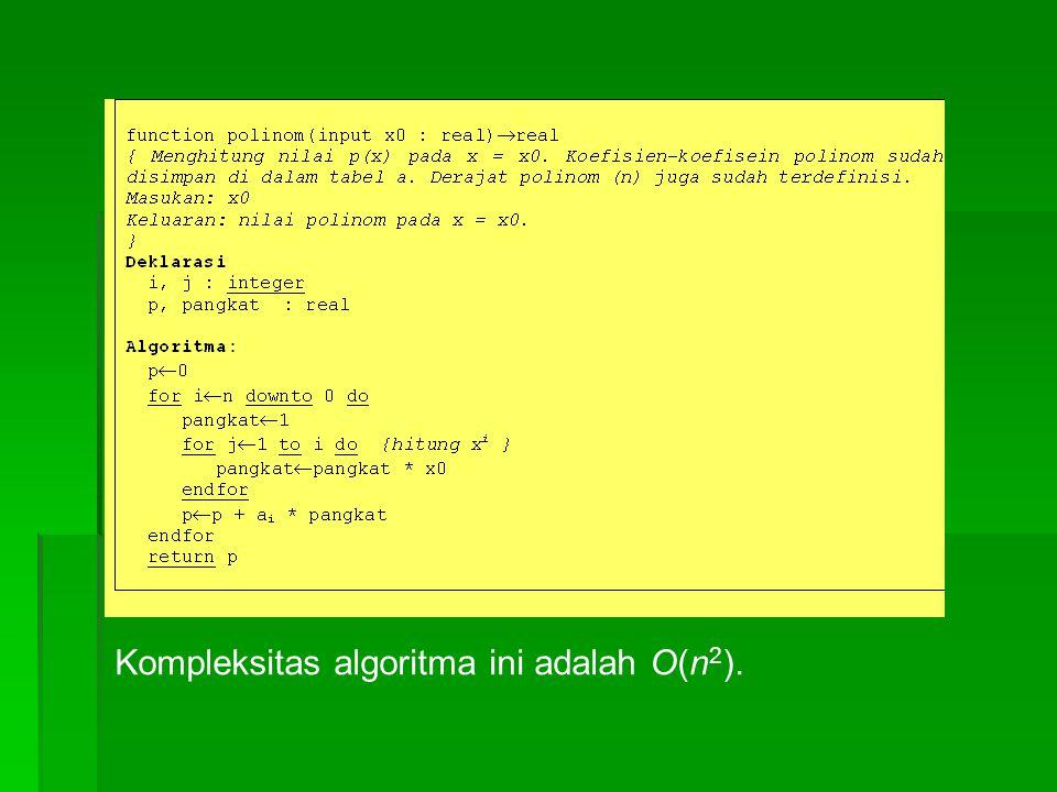 Kompleksitas algoritma ini adalah O(n 2 ).