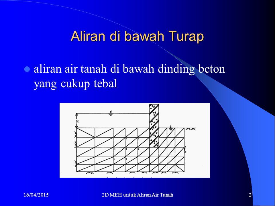 16/04/20152D MEH untuk Aliran Air Tanah12 Elemen 1, 3, dan 5 l l x y 1 2 3