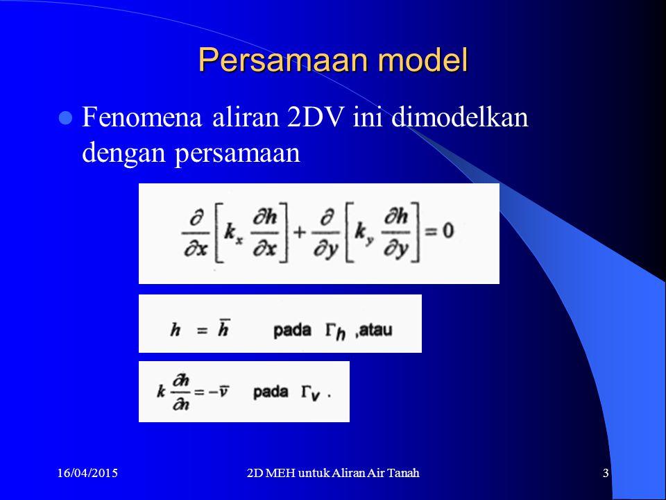 16/04/20152D MEH untuk Aliran Air Tanah3 Persamaan model Fenomena aliran 2DV ini dimodelkan dengan persamaan