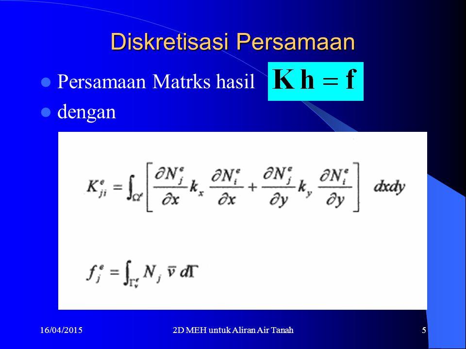 16/04/20152D MEH untuk Aliran Air Tanah4 Diskretisasi Persamaan Interpolasi 2D Aplikasi Galerkin & Green
