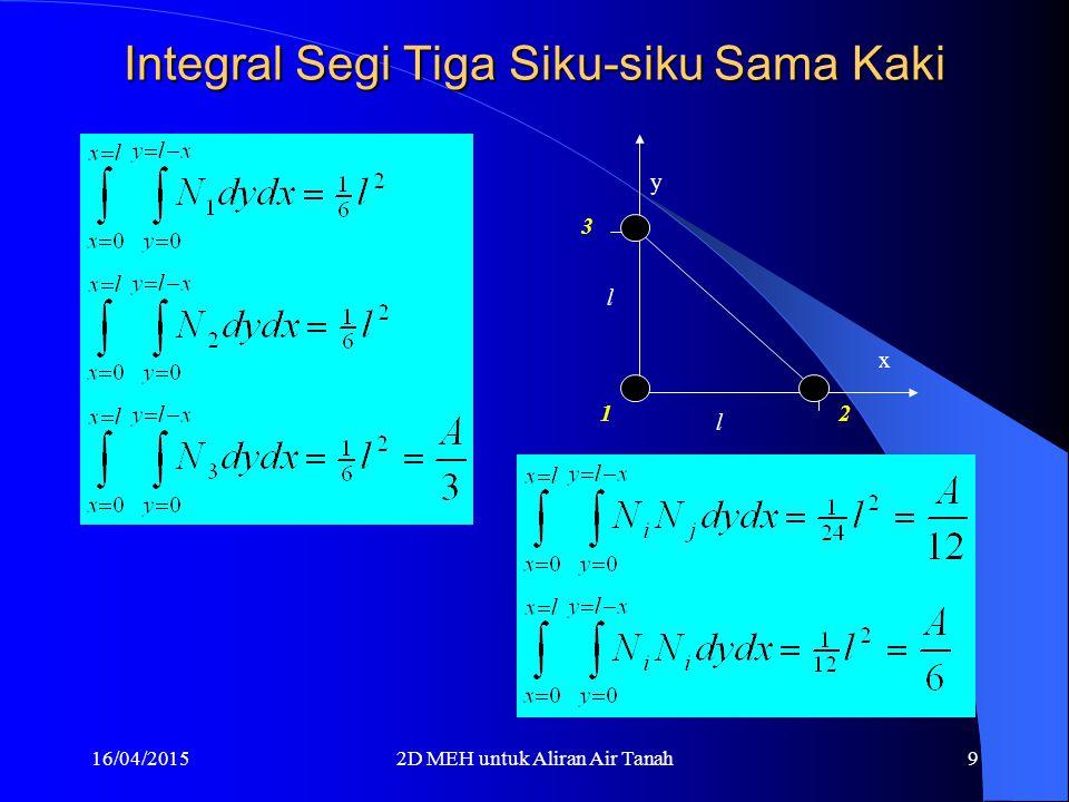 16/04/20152D MEH untuk Aliran Air Tanah9 Integral Segi Tiga Siku-siku Sama Kaki l l x y 1 2 3