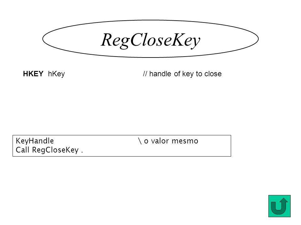 RegCloseKey HKEY hKey // handle of key to close KeyHandle\ o valor mesmo Call RegCloseKey.