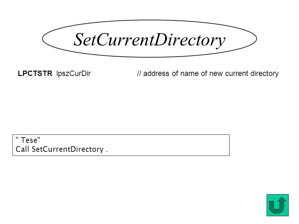 SetCurrentDirectory LPCTSTR lpszCurDir // address of name of new current directory Tese Call SetCurrentDirectory.