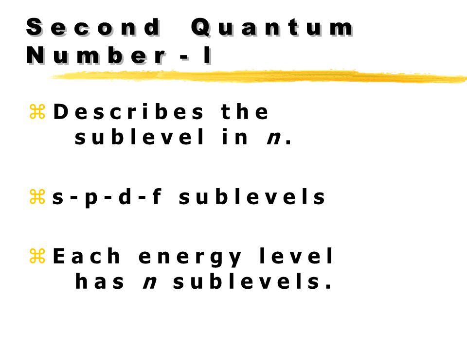 S e c o n d Q u a n t u m N u m b e r - l z D e s c r i b e s t h e s u b l e v e l i n n.