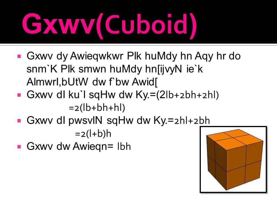  Gxwv dy Awieqwkwr Plk huMdy hn Aqy hr do snm`K Plk smwn huMdy hn[ijvyN ie`k AlmwrI,bUtW dw f`bw Awid[  Gxwv dI ku`l sqHw dw Ky.=(2 lb+2bh+2hl) =2(lb+bh+hl)  Gxwv dI pwsvIN sqHw dw Ky.= 2hl+2bh =2(l+b)h  Gxwv dw Awieqn= lbh